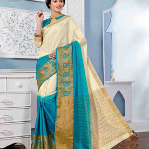 Tussar Silk Saree-Blue and Cream