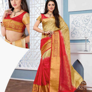Tussar Silk Saree-Red and Cream_Gold