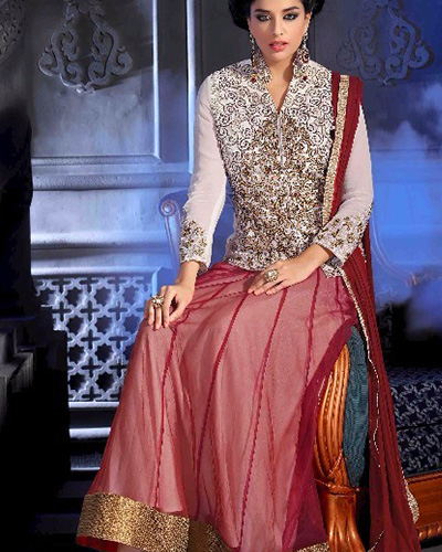 Ready-made Designer Kameez-White and Red