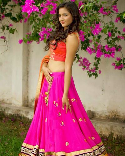 Designer Semi-unstitched Lehenga-Orange and Pink