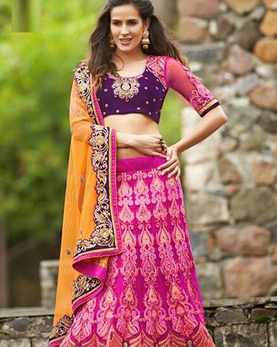 Designer Semi-unstitched Lehenga-Pink and Purple