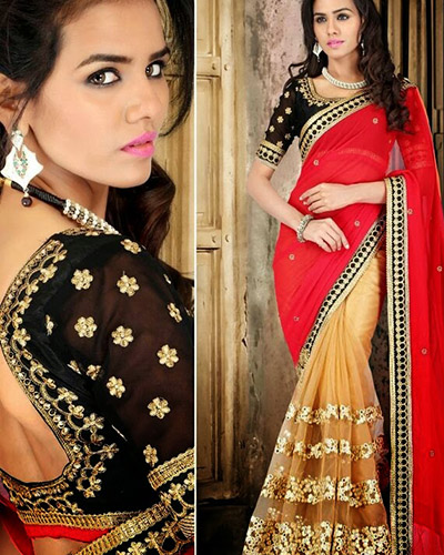 Designer Bollywood Saree-Black and Red