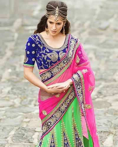 Designer Semi-unstitched Lehenga-Blue,Green and Pink