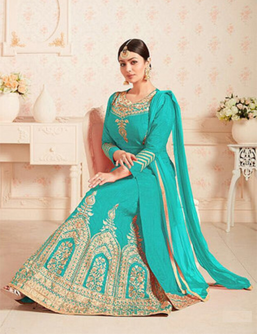 Ready-made Anarkali-Aqua Blue
