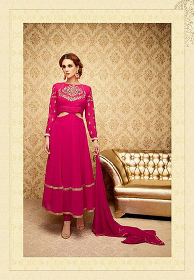 Ready-made Anarkali-Pink and Gold_Georgette