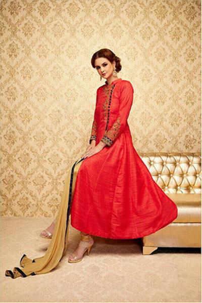 Ready-made Anarkali-Red and Gold