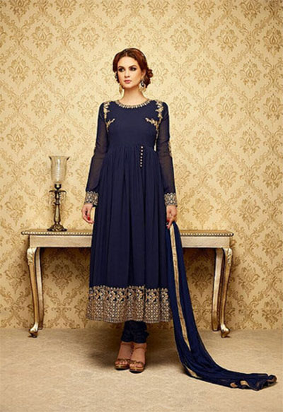 Ready-made Anarkali-Navy Blue and Gold
