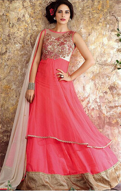Ready-made Anarkali-Pink and Gold