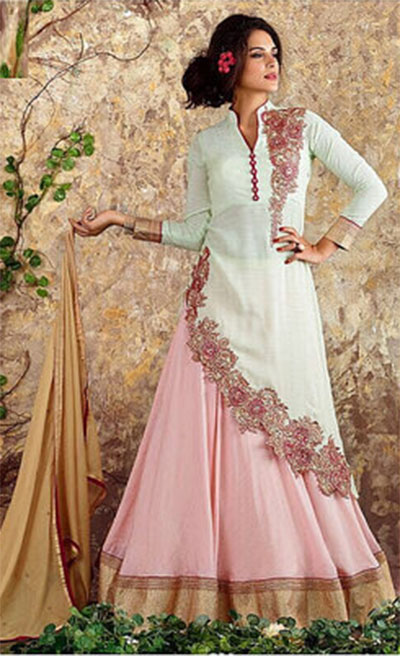 Ready-made Anarkali-White and Baby Pink