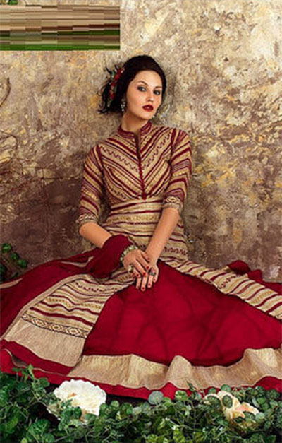 Ready-made Anarkali-Red,Gold and Beige