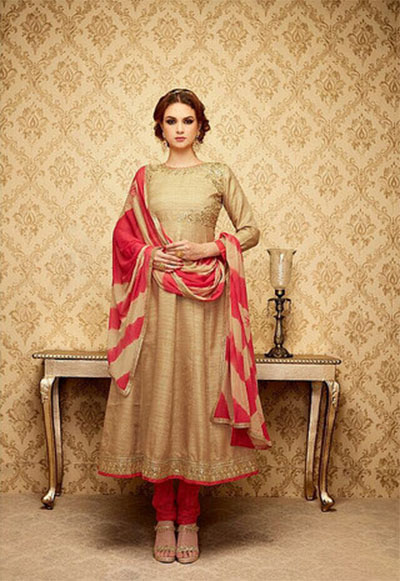 Ready-made Anarkali-Beige