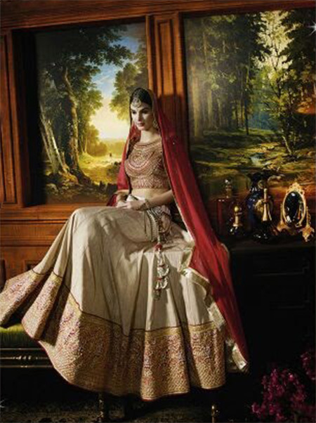 Designer Unstitched Lehenga-Beige and Red