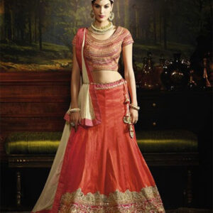 Designer Unstitched Lehenga-Dark_Orange and Beige