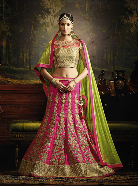 Designer Unstitched Lehenga-Pink and Sapphire_Green