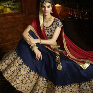 Designer Unstitched Lehenga-Navy_Blue and Red