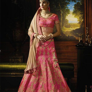 Designer Unstitched Lehenga-Pink and Beige