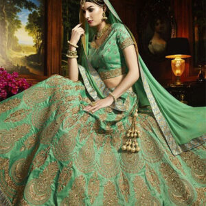 Designer Unstitched Lehenga-Light Green and Sapphire