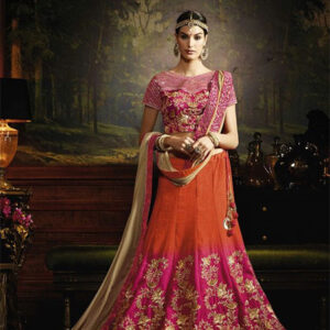 Designer Unstitched Lehenga-Pink and Orange