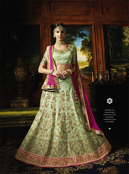 Designer Unstitched Lehenga-Light_Green and Pink