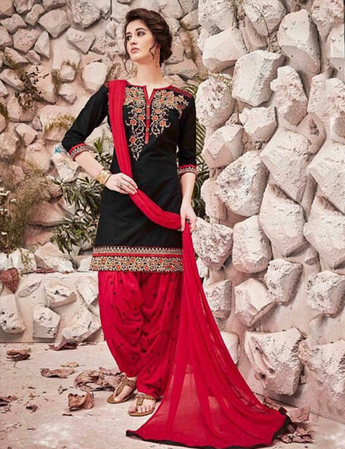 Patiala Suit-Black and Red