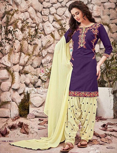 Ready made Patiala Suit-Purple and Yellow