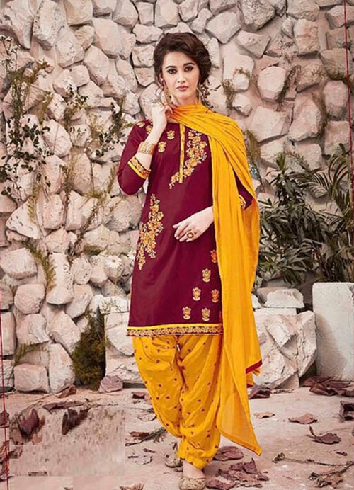 Patiala Suit-Burgundy and Yellow