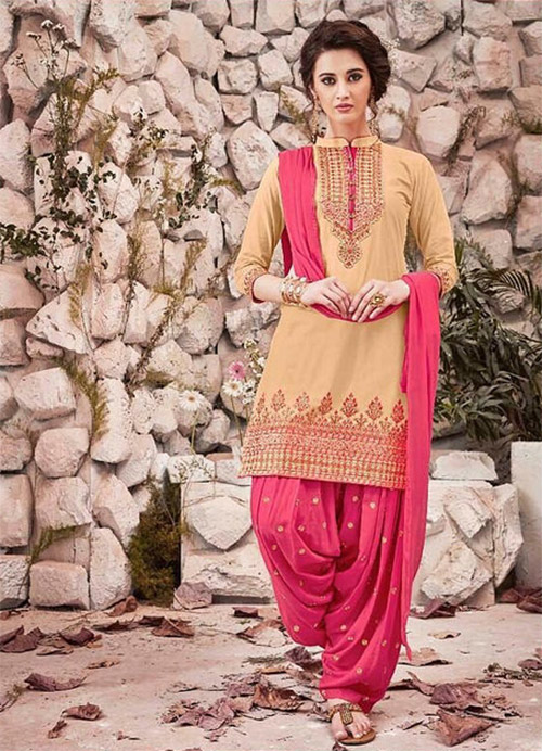 Ready Made Patiala Suit-Beige