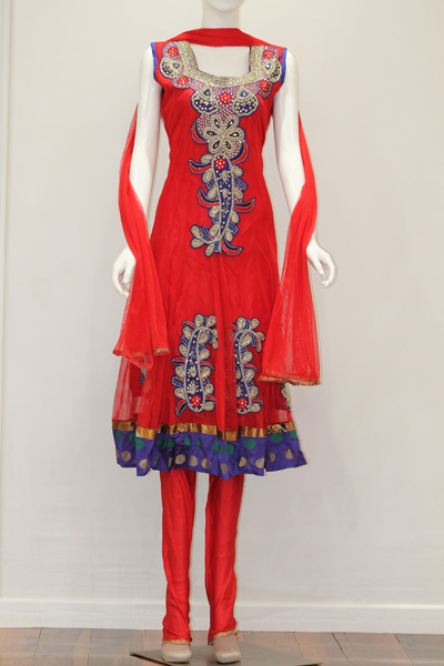 Designer Salwaar Kameez-Red and Blue