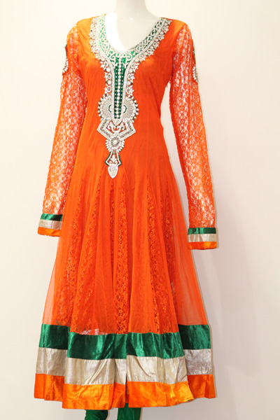 Designer Salwaar Kameez-Orange and Green