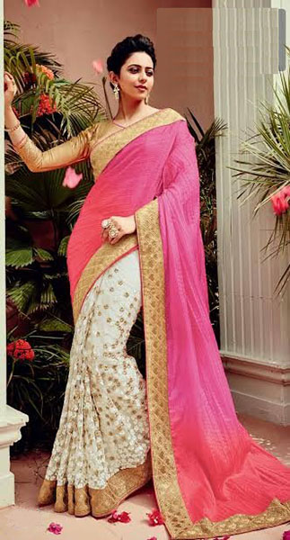 Designer Saree-Pink and White
