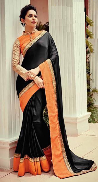 Designer Saree-Black and Orange