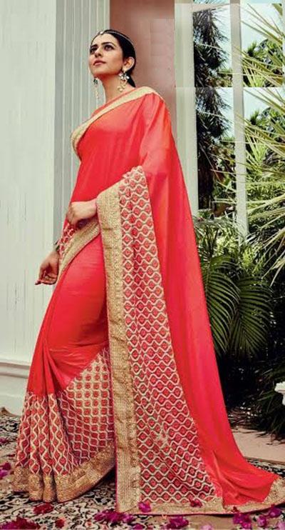 Designer Saree-Orange and Gold