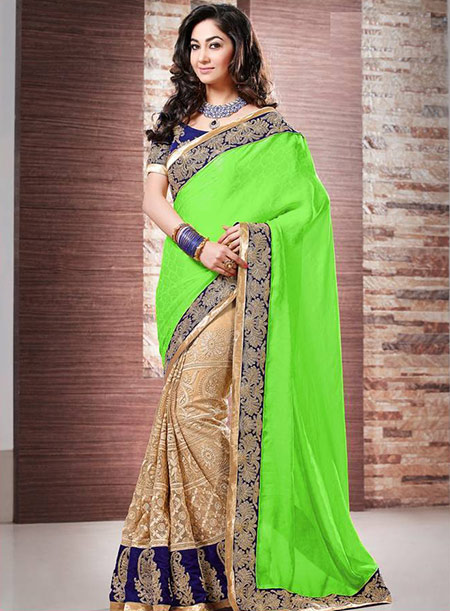 Designer Bollywood Saree-Lime Green