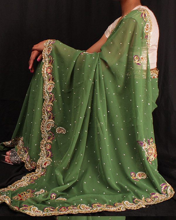 Heavy Crystal-work Saree-Green and Cream