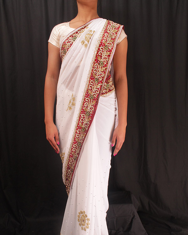 Heavy Crystal-work Saree-White and Red_Velvet