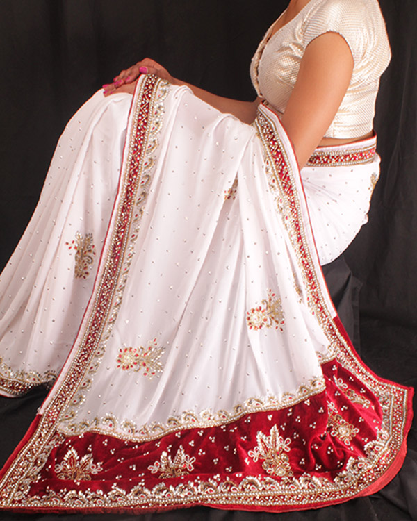 Heavy Crystal-work Saree-White and Red