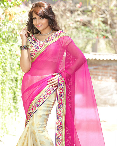 Designer Bollywood Saree-Pink And Cream